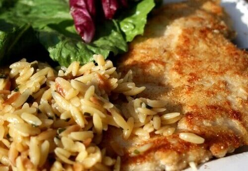 Chicken Milanese with White Pear Balsamic & Orzo